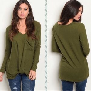 Olive Green Lightweight Sweater Top